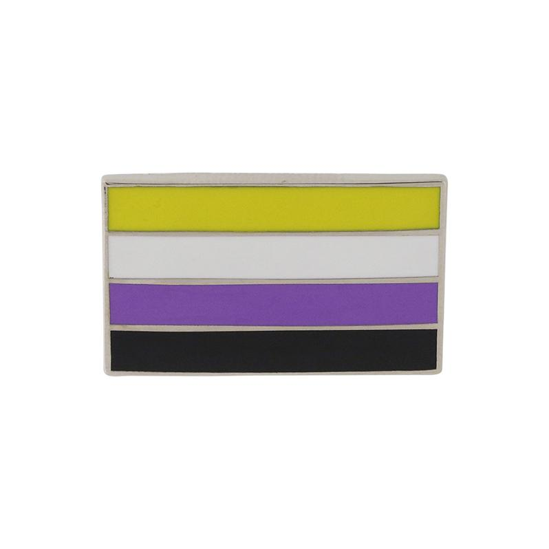 Nonbinary Pride Standard Rectangle Flag Enamel Pin