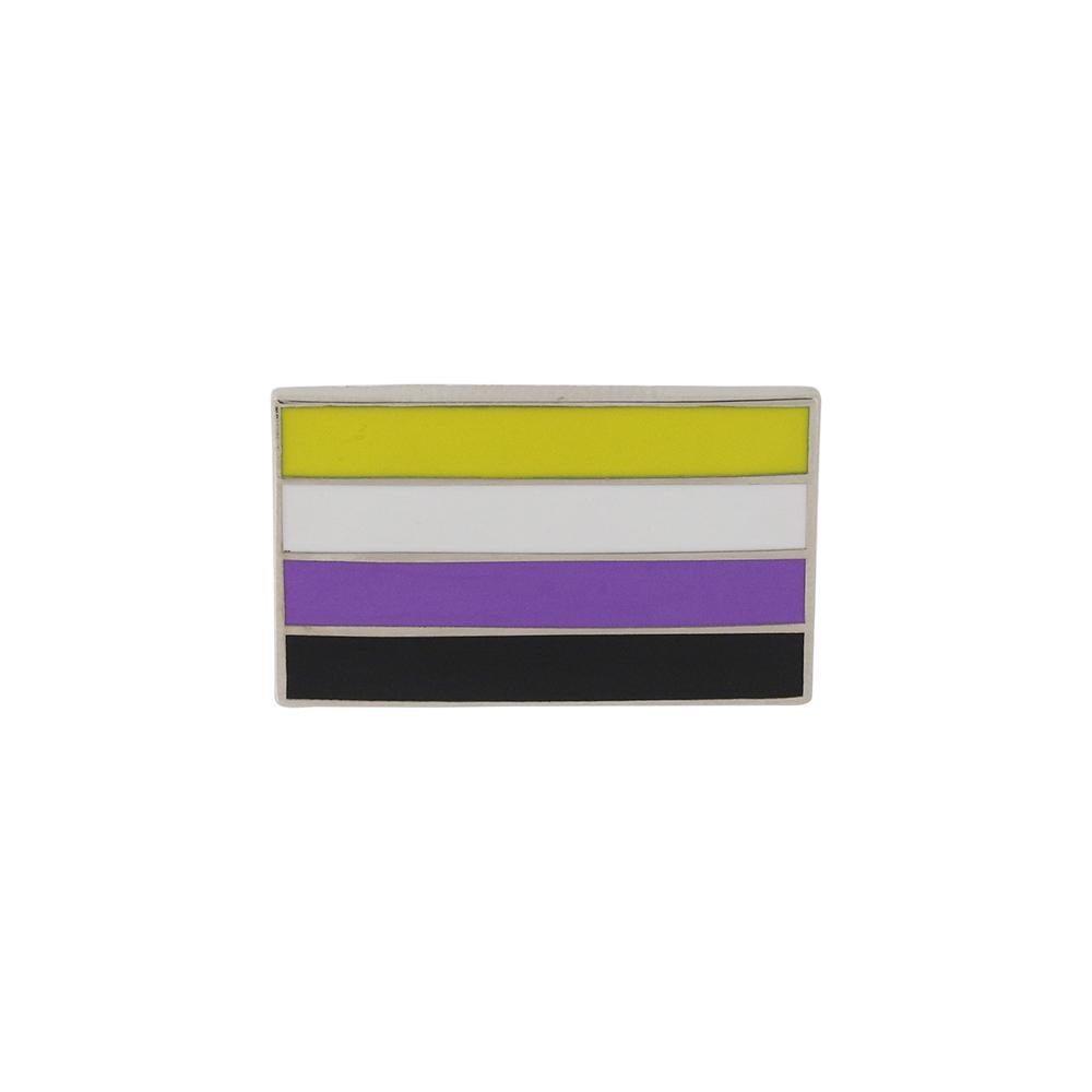 Nonbinary Pride Standard Rectangle Flag 3M Metal Badge