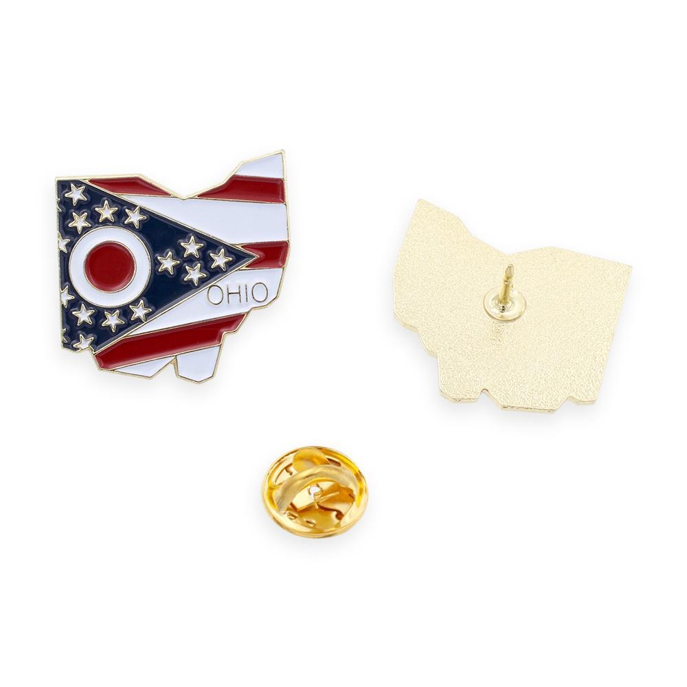 Ohio State Shape Outline and Ohio State Flag Lapel Pin