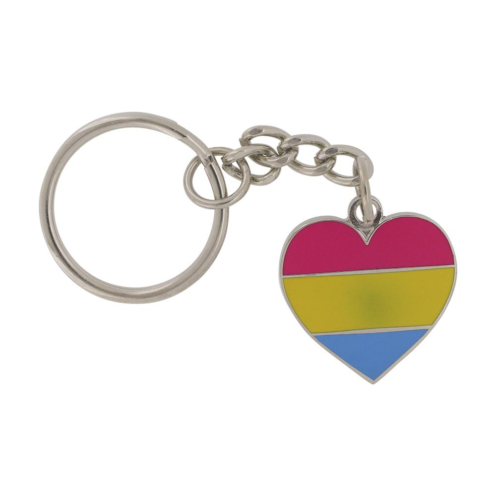 Pansexual Pride Heart Shaped Flag Keychain