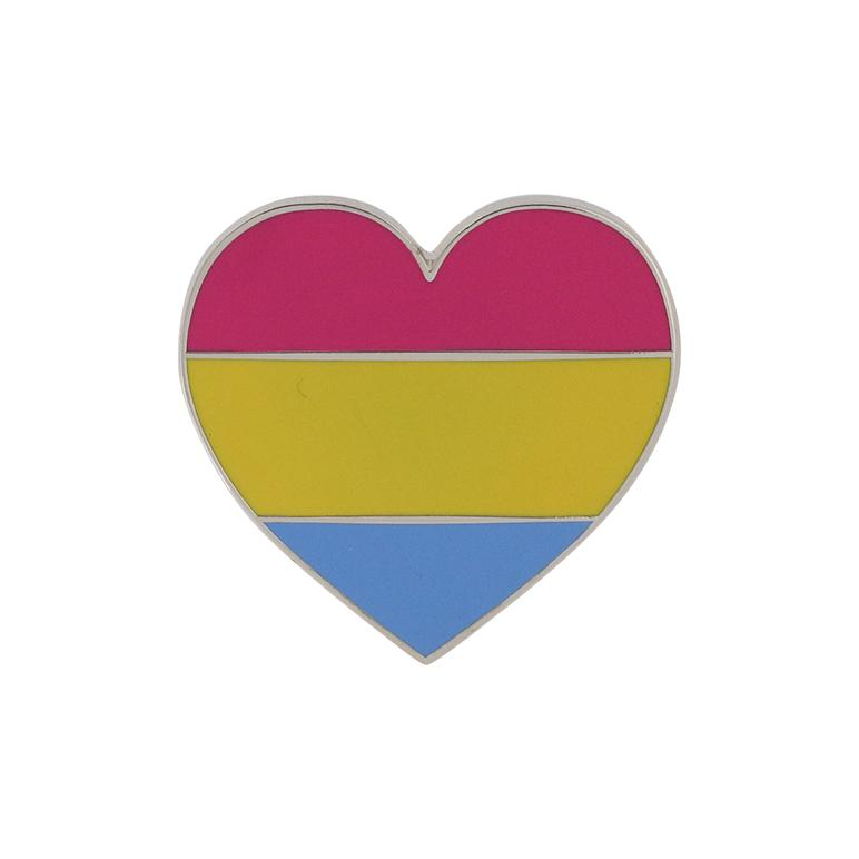 Pansexual Pride Heart Shaped Flag 3M Metal Badge