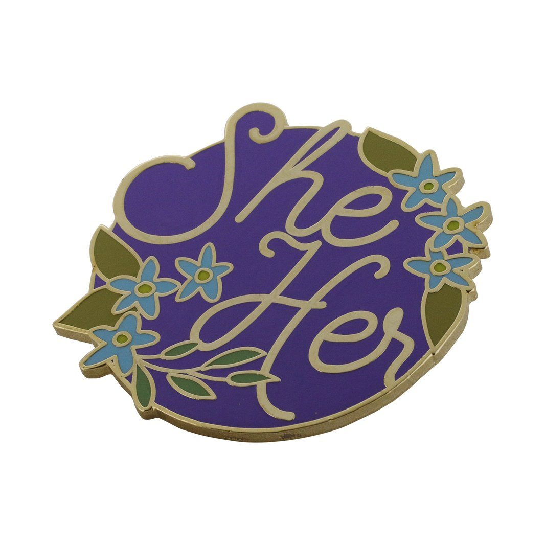 Personal Pronoun Pins (SHE/HER) Circle