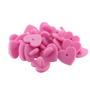 Pink Heart Shaped Rubber Pin Backers PVC Butterfly Clutches