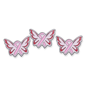 Angel Wings Pink Ribbon Breast Cancer Awareness Enamel Pin