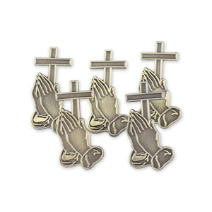 Praying Hands With Cross Antique Gold Diestruck Lapel Pin