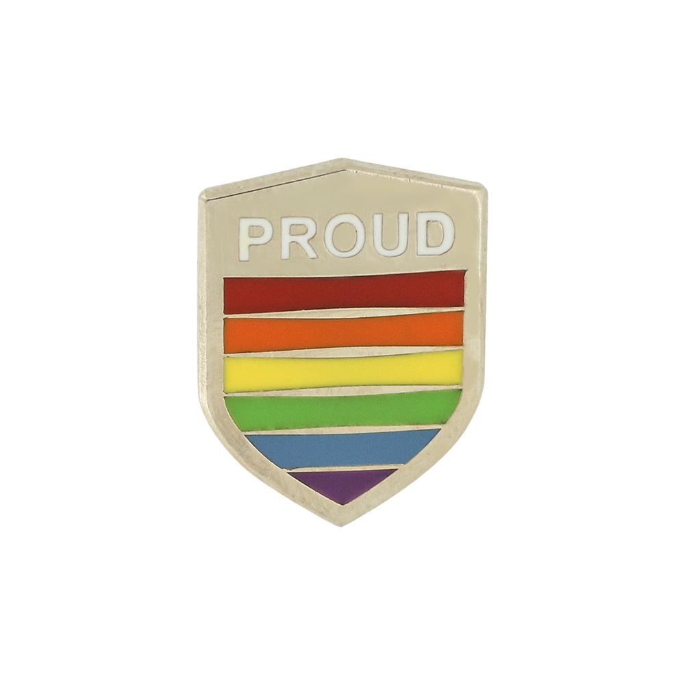 Proud Pride Shield Silver Enamel Pin