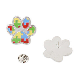 Paw Print Autism Color Puzzle Pieces Lapel Pin