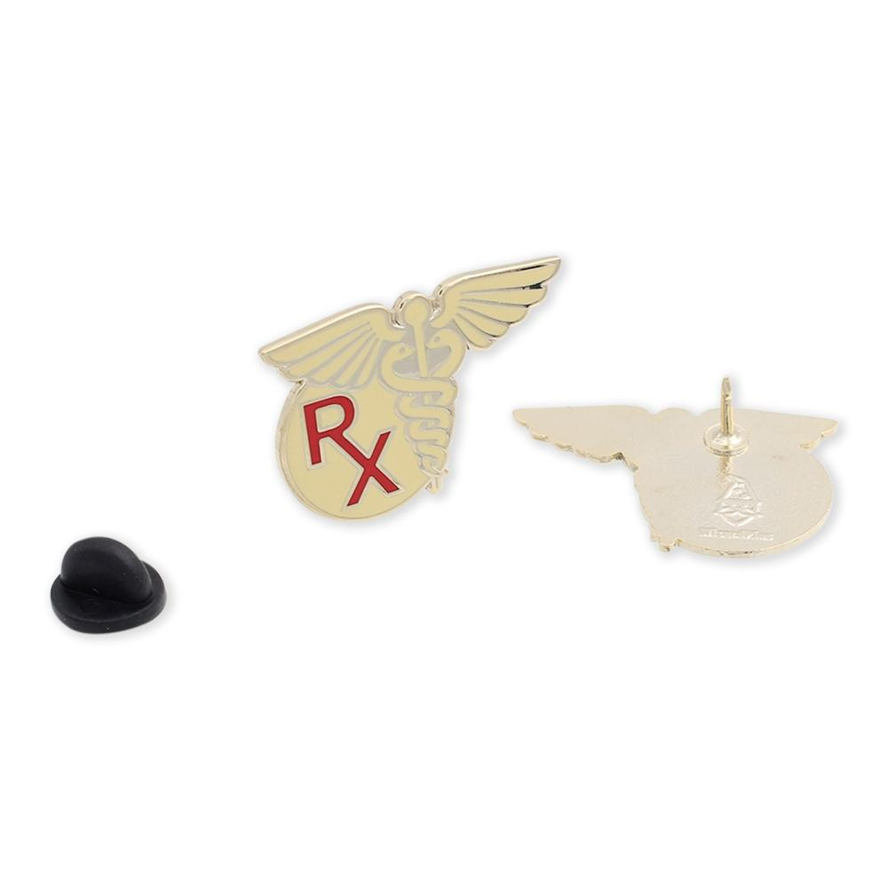 Prescription RX Caduceus Nursing Hard Enamel Lapel Pin