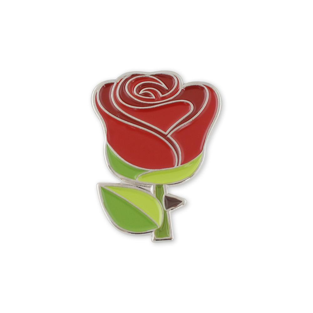 Red Rose Emoji Flower Romance Valentine's Day Enamel Lapel Pin