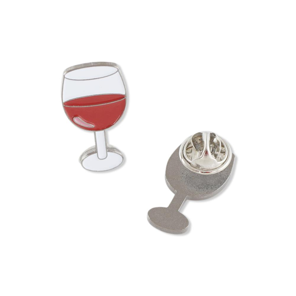 Glass of Red Wine Enamel Diestruck Lapel Pin
