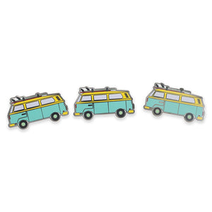 Retro Van with Surfboard Rack Hard Enamel Lapel Pin
