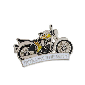 Ride Like The Wind Motorcycle with Flames Enamel Lapel Pin