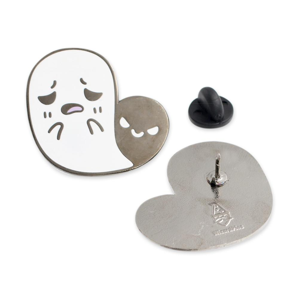 Cute Ghost Scared by its Shadow Hard Enamel Lapel Pin