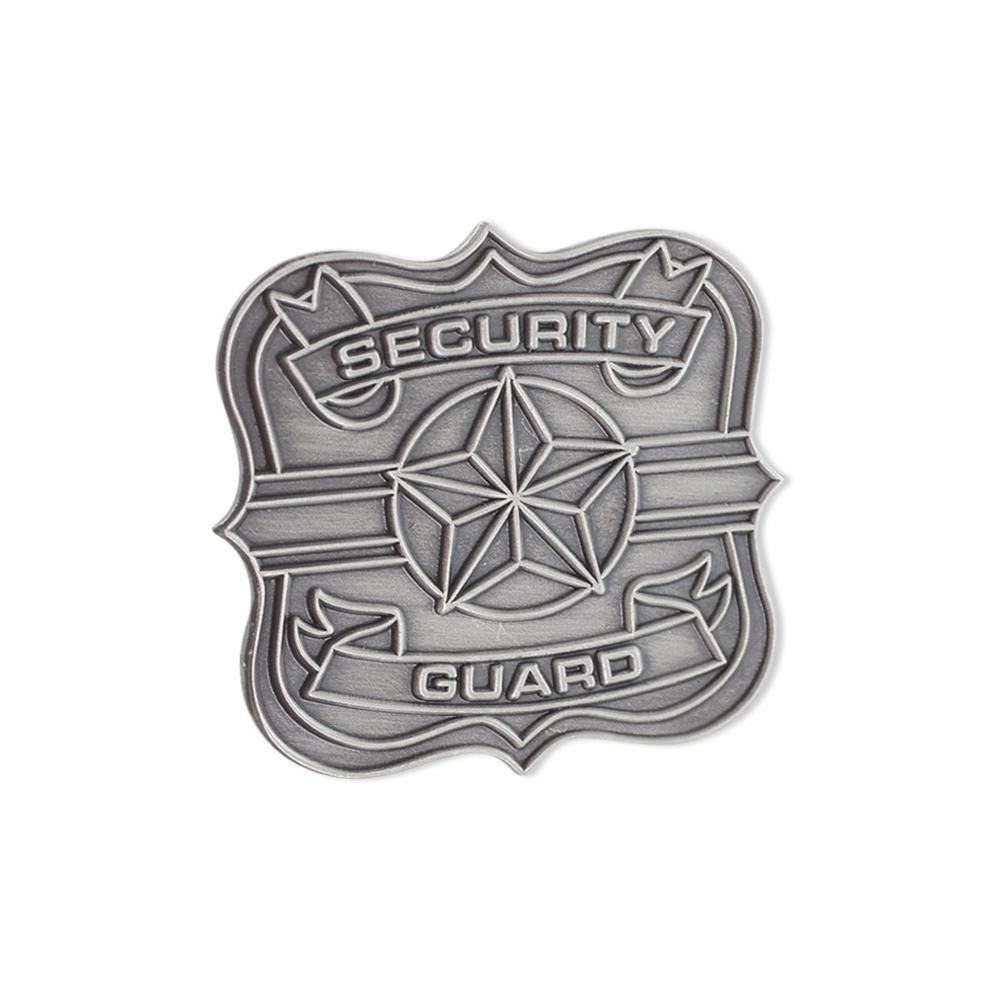 Security Guard Badge Antique Silver Diestruck Lapel Pin