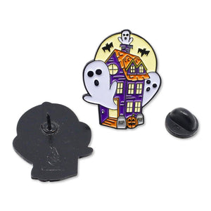 Spooky Haunted House Ghosts & Ghouls Halloween Enamel Pin