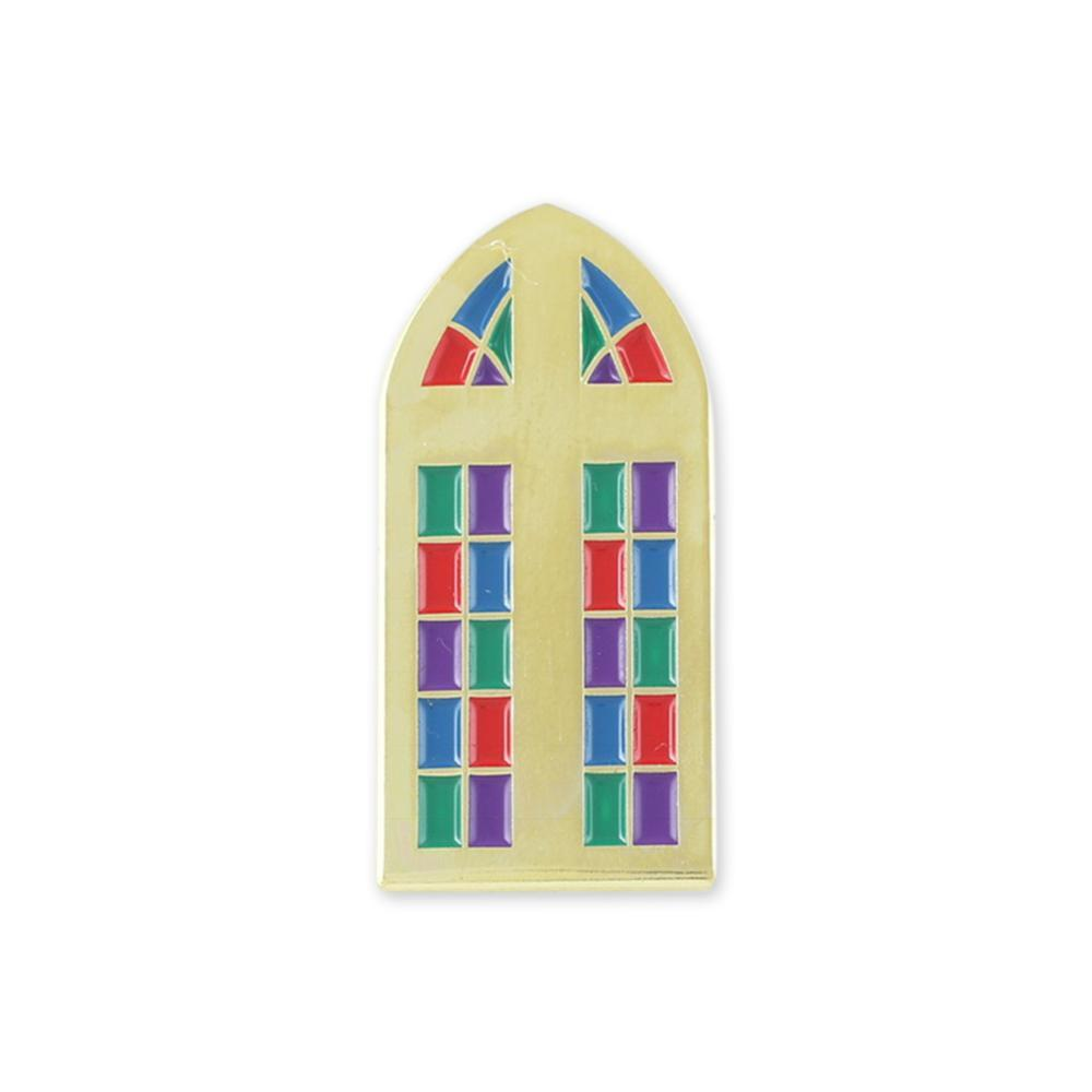 Stained Glass Window And Cross Religious Enamel Lapel Pins
