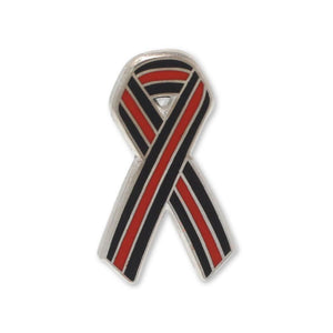 Thin Red Line Ribbon Fire Fighters Support Enamel Lapel Pin