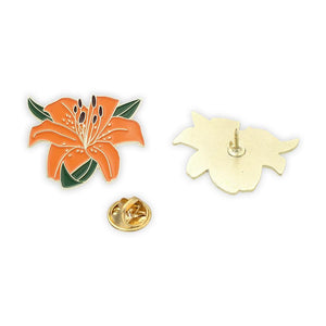 Tiger Lily Flower Enamel Lapel Pin