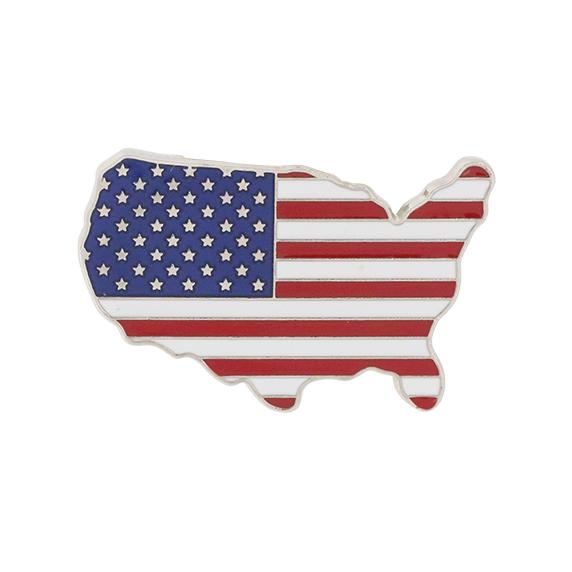 Made in USA Silver United States Outline American Flag Patriotic Lapel Pin