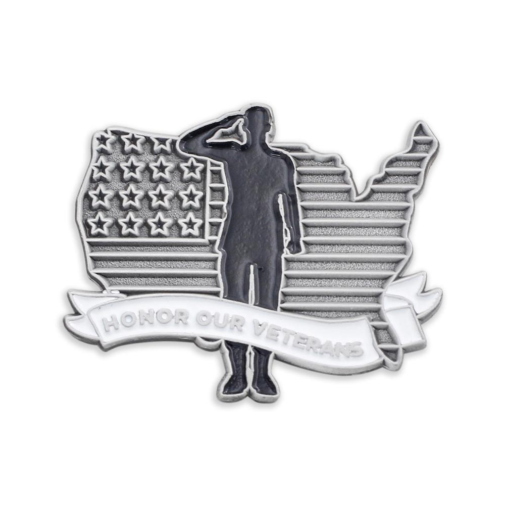 Honor Our Veterans USA Country Outline Enamel Lapel Pin