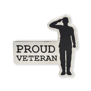 Proud Veteran Salute Hard Enamel Lapel Pin