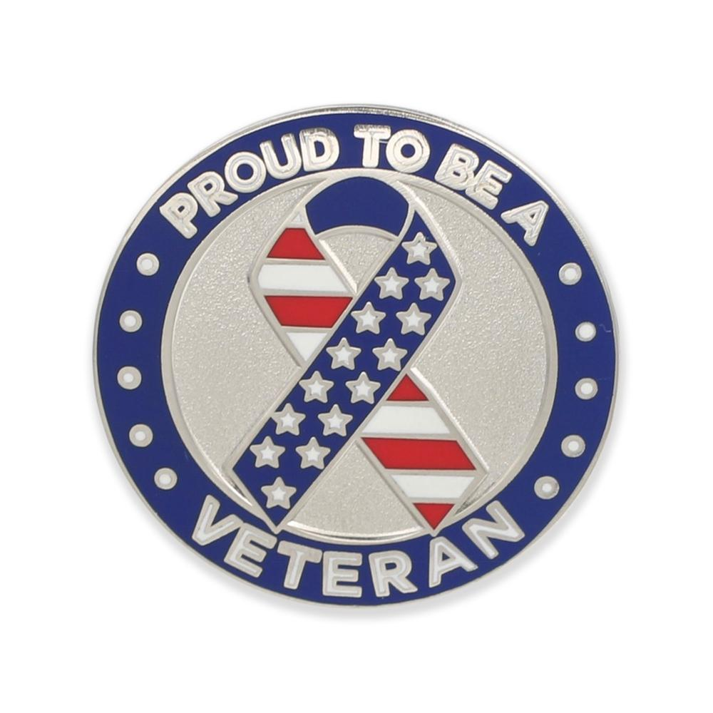 Proud to Be A Veteran Ribbon Seal Hard Enamel Lapel Pin