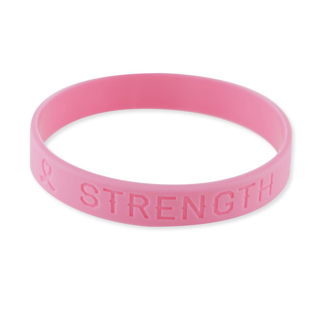 Pink Ribbon Heart Breast Cancer Awareness Wristbands Hope Strength Courage Silicone Bracelets