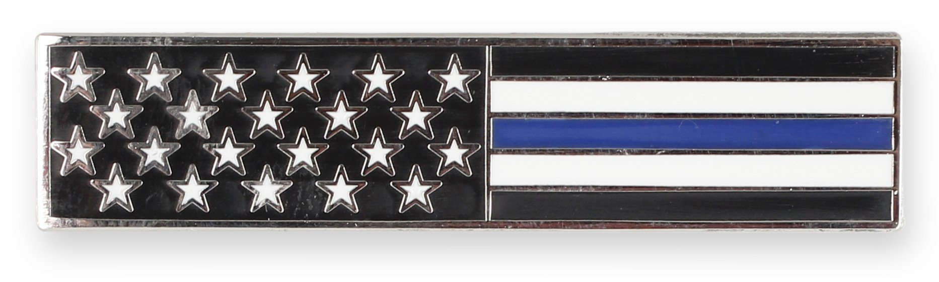 Thin Blue Line American Flag Stars Stripes Uniform Bar Pin
