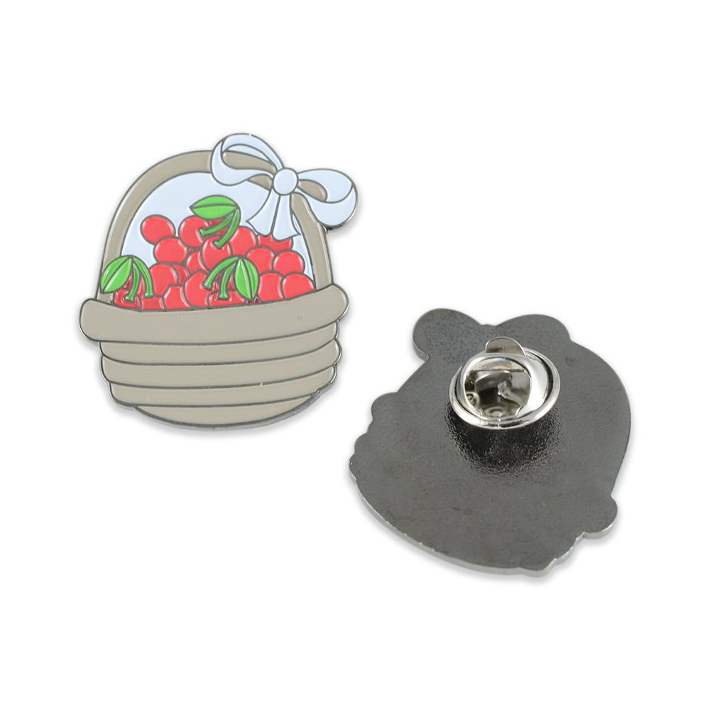 Red Cherries Enamel Diestruck Lapel Pin