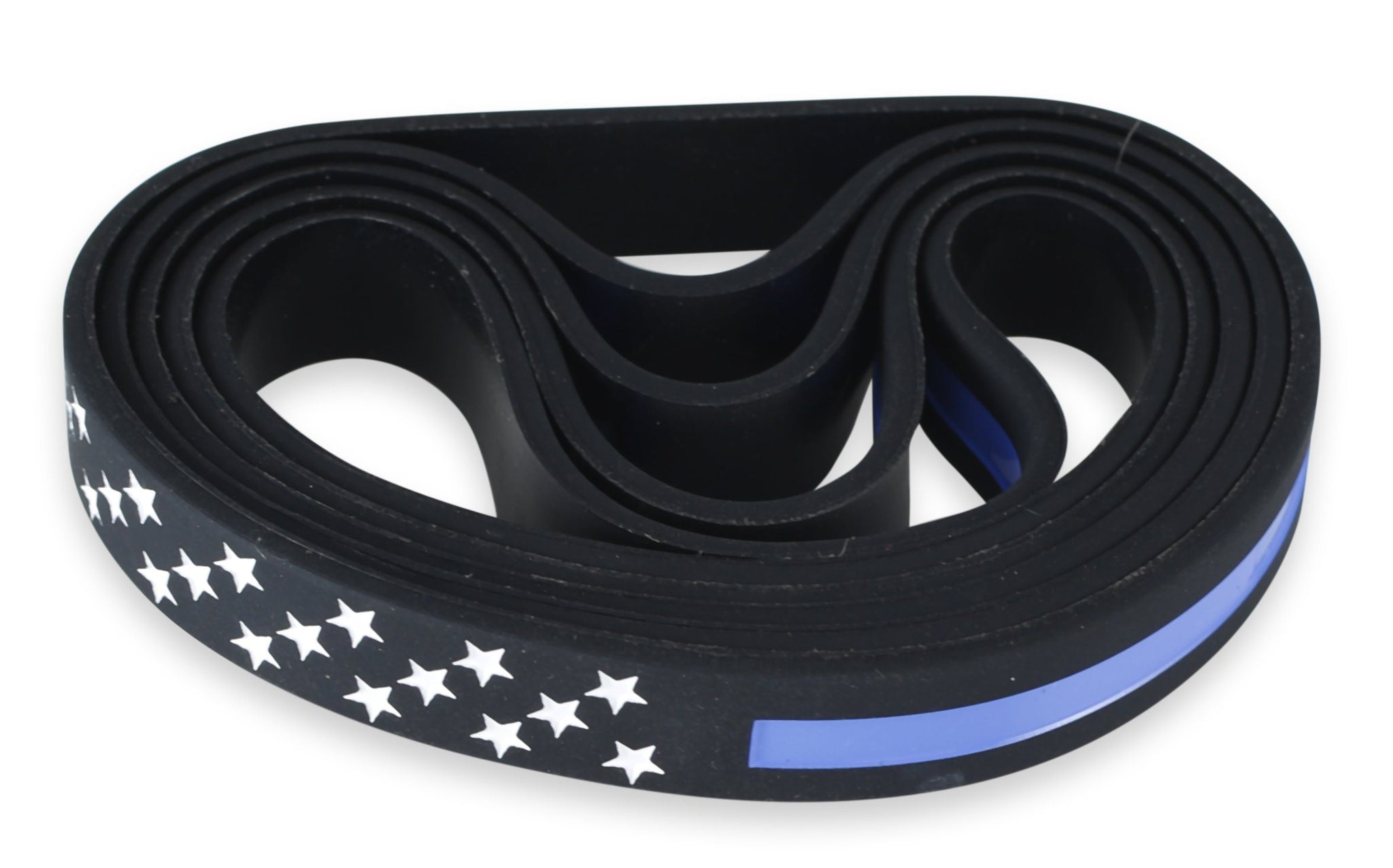 Thin Blue Line with American Flag Stars Police Appreciation Silicone Wristband