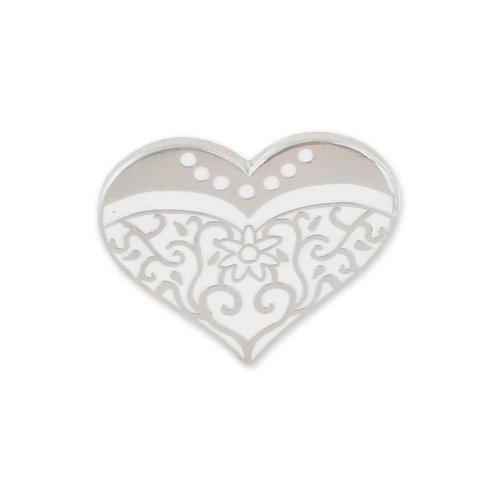 Wedding Favor Bride Dress Heart Hard Enamel Lapel Pin