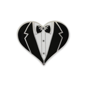 Wedding Favor Groom Tux Heart Hard Enamel Lapel Pin