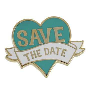 Wedding Favor Save The Date Ribbon Heart Hard Enamel Lapel Pin