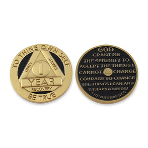 1 Year Sobriety Gold Coin