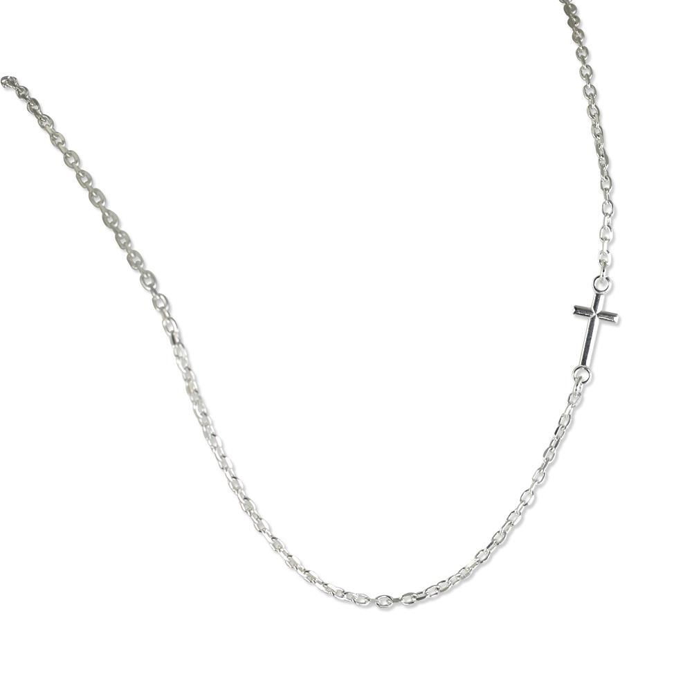 Sideways Cross Sterling Silver 925 Imported from Italy Pendant Necklace