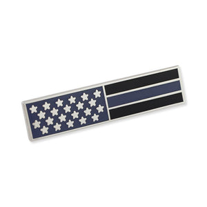 Police Thin Blue Line American Flag Stars Blue & Black Stripes Uniform Bar Pin