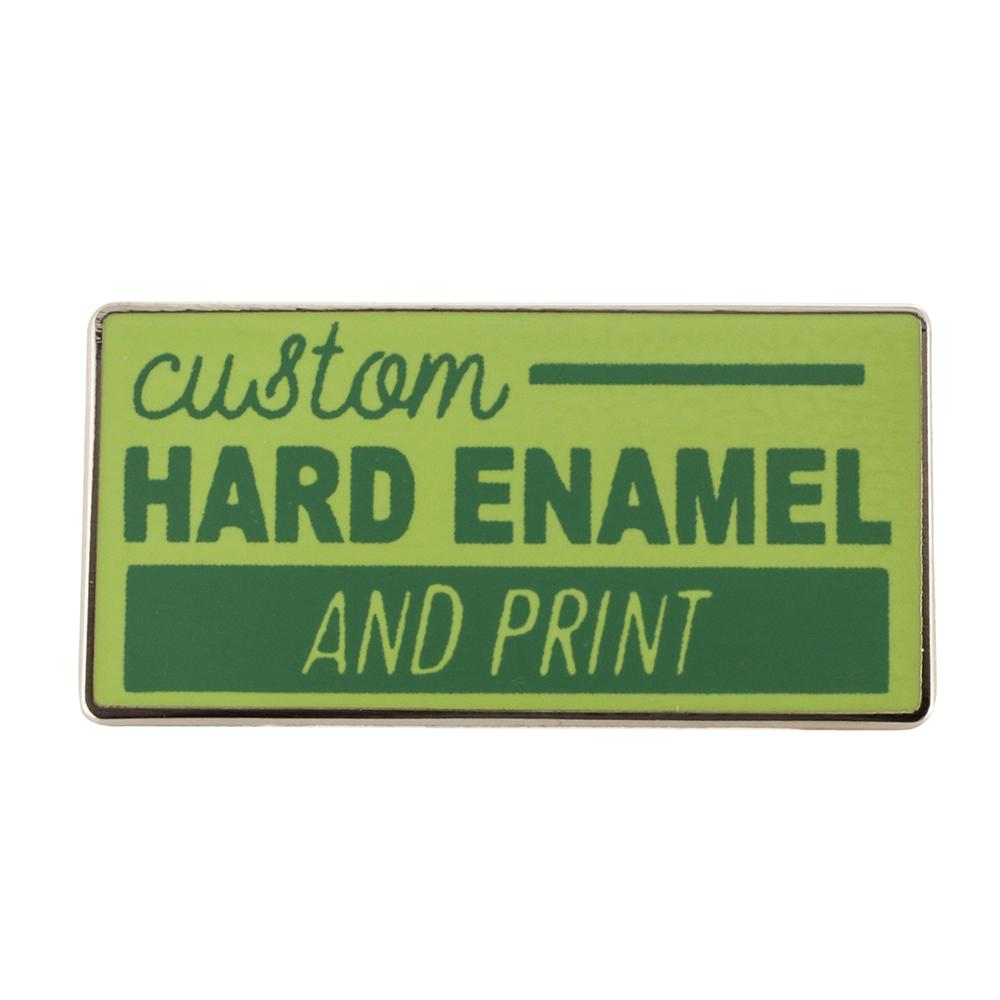 Custom pin in the hard enamel print style green enamel and accented print