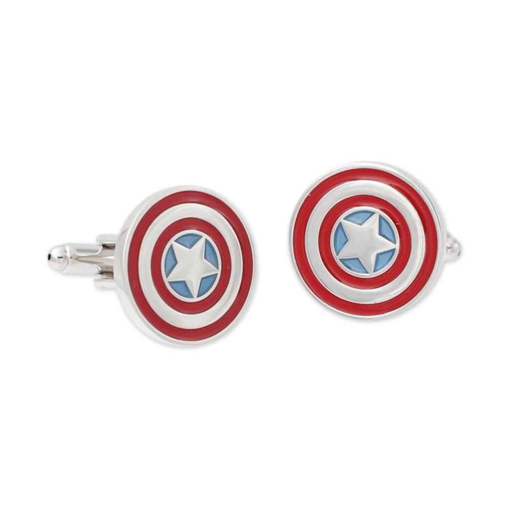 Captain America shield inspired cufflinks with custom enamel coloring