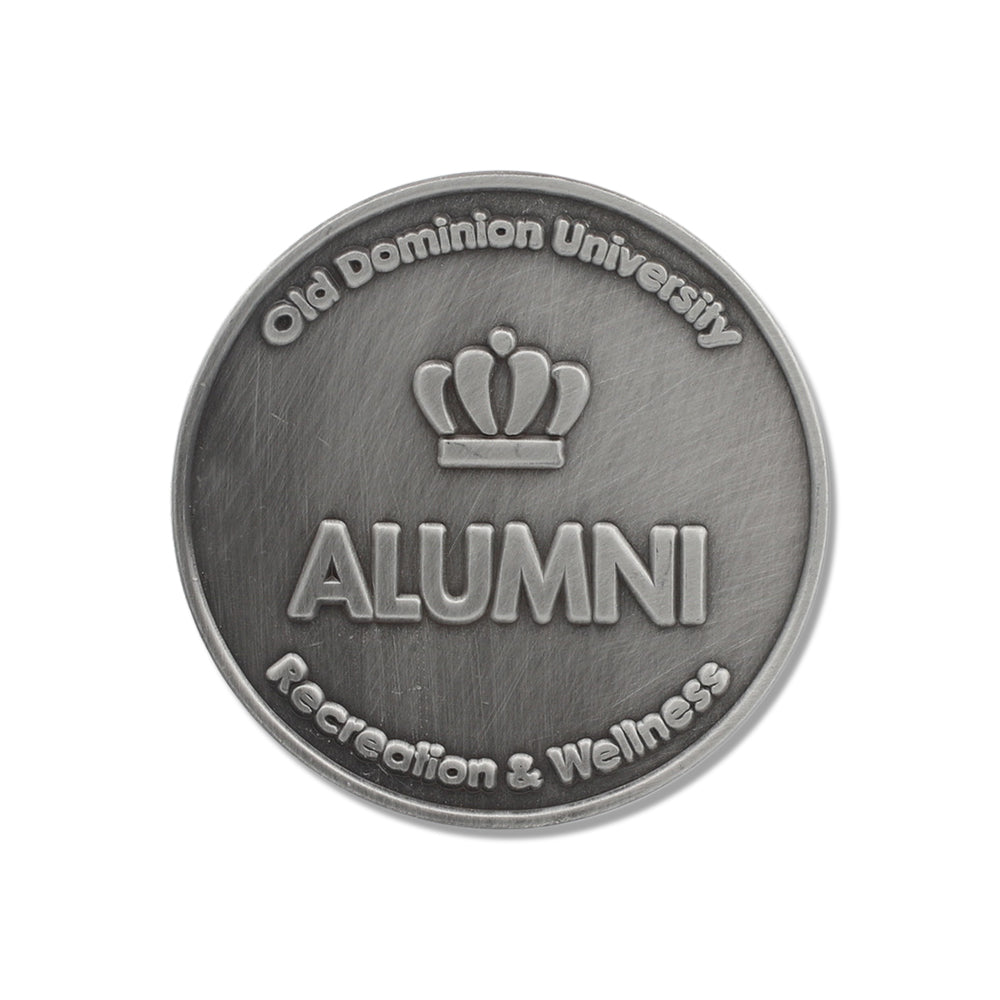 custom challenge coin with antique silver plating for college alumni