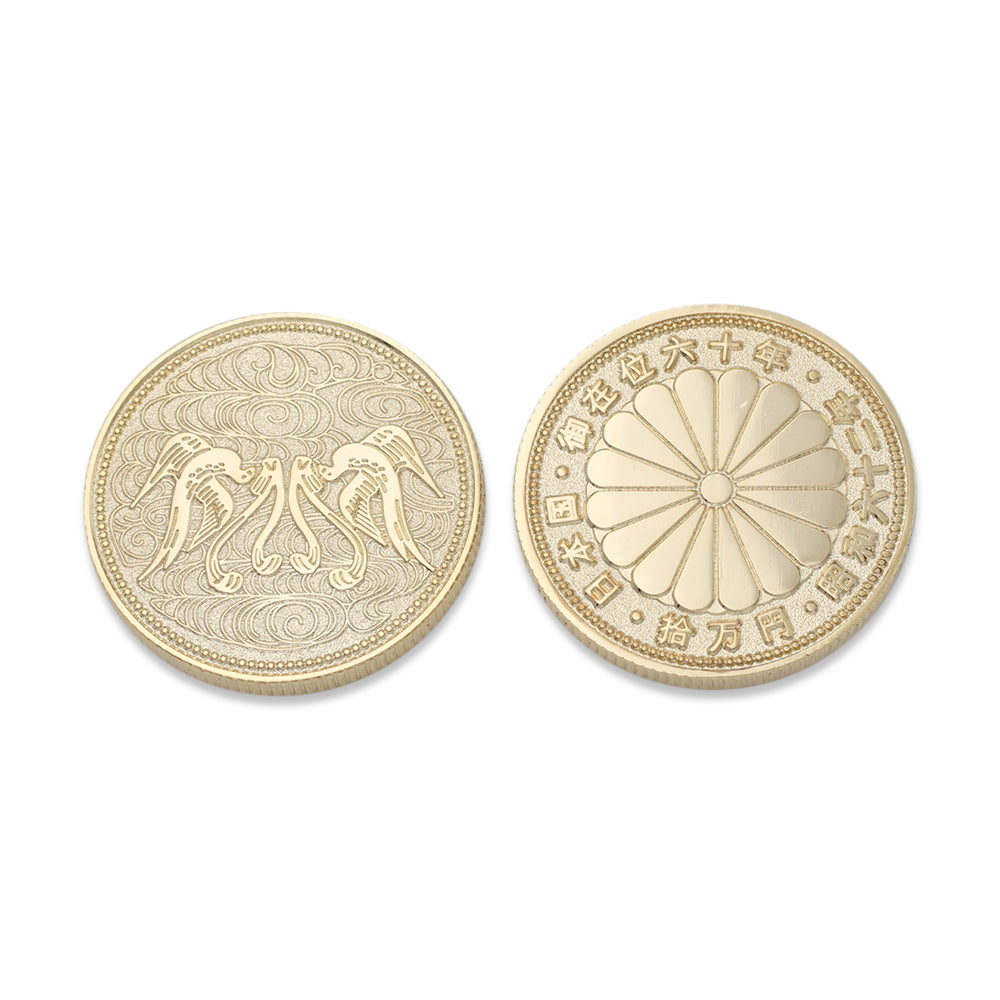 front and back of custom coin with gold metal plating