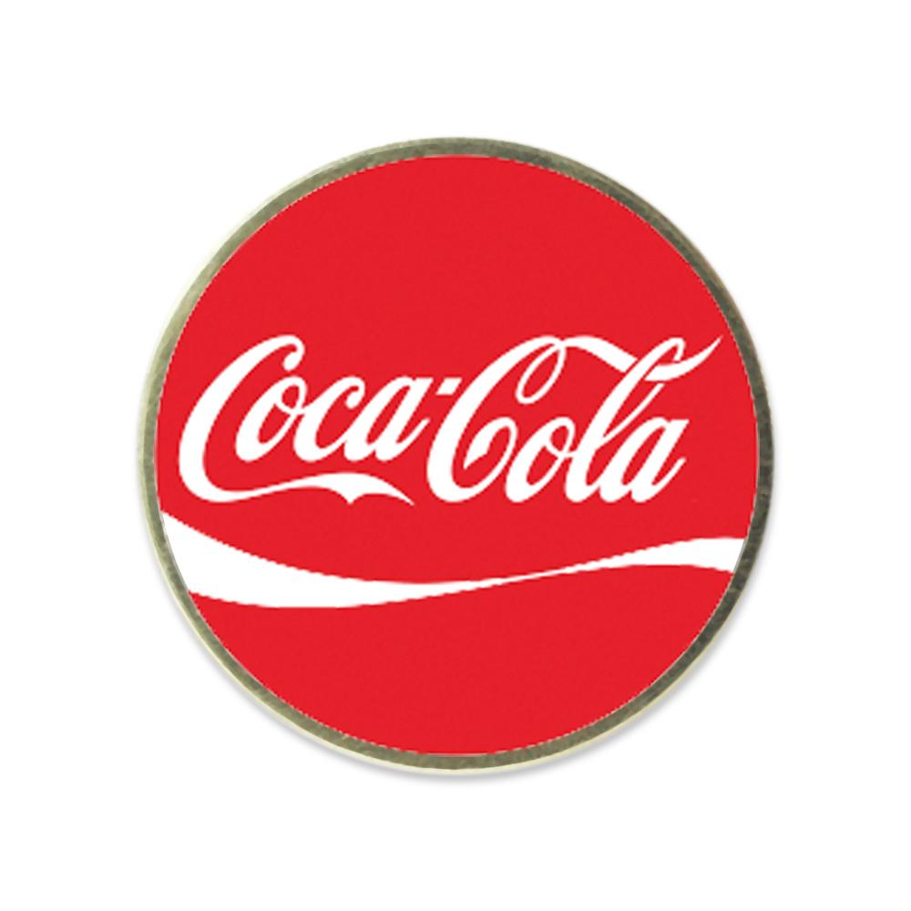 coca-cola custom design printed on stock shape lapel pin made in usa