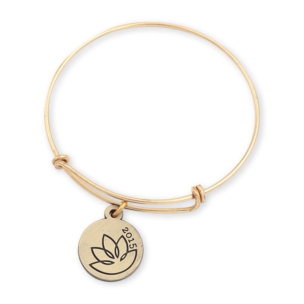 Lotus charm bracelet with custom charm and shiny gold bangle bracelet for jewelry quality look