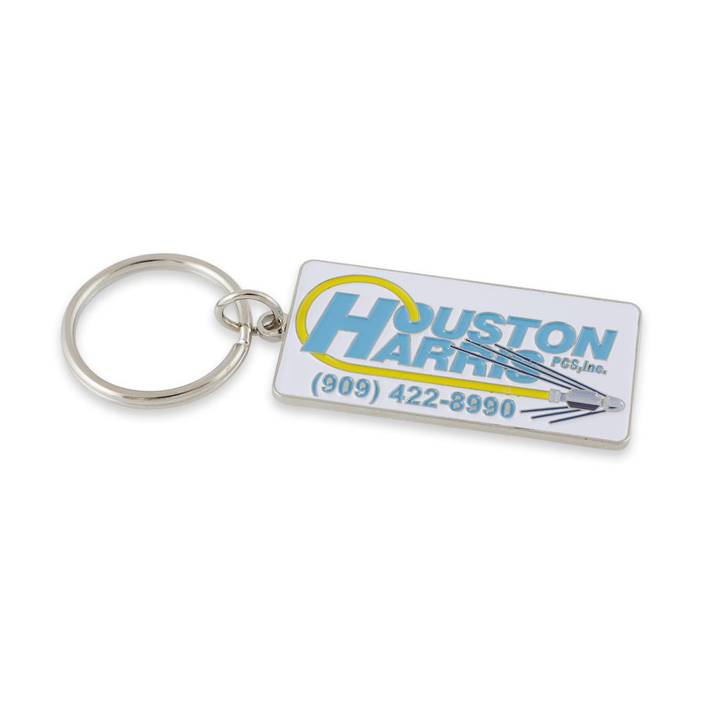 Custom diestruck keychain business card information style