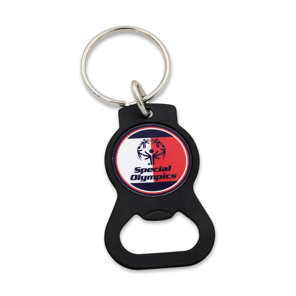 custom black metal bottle opener with special olympics organization logo