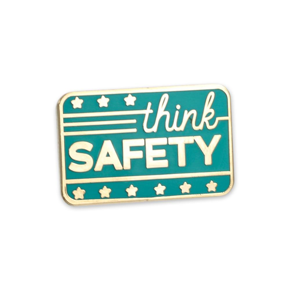 Think Safety custom pin with gold plating