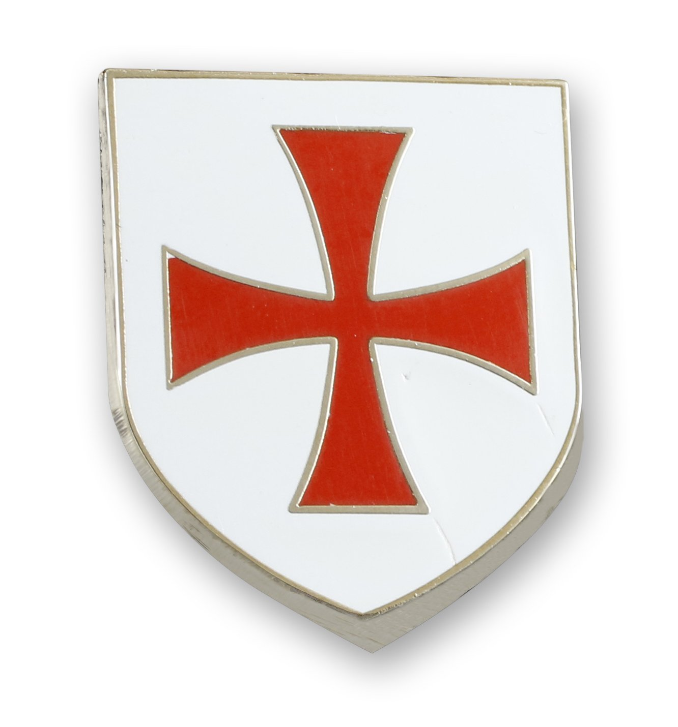 Crusader Shield Templar Knight Enamel Pin Red Cross White Background Made in USA Custom Pin