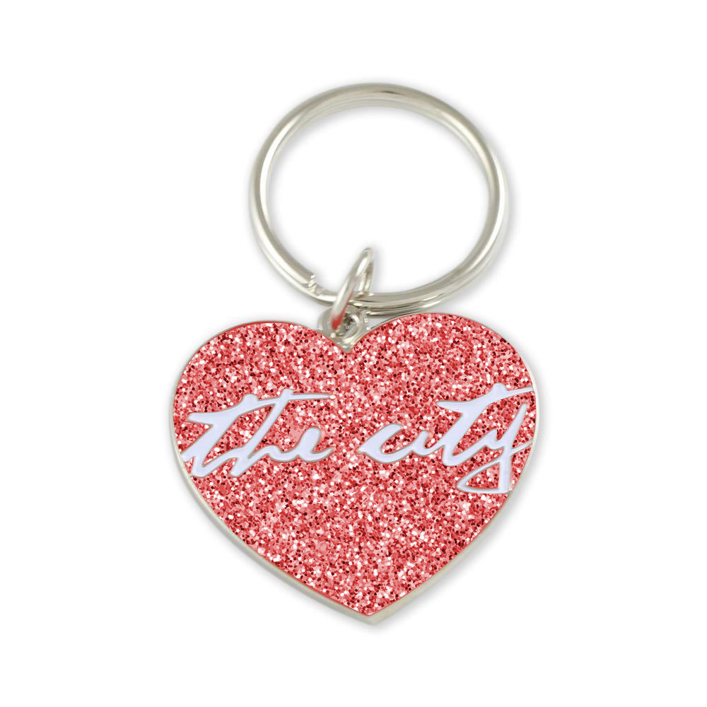 Red enamel custom heart keychain with silver metal shiny plating