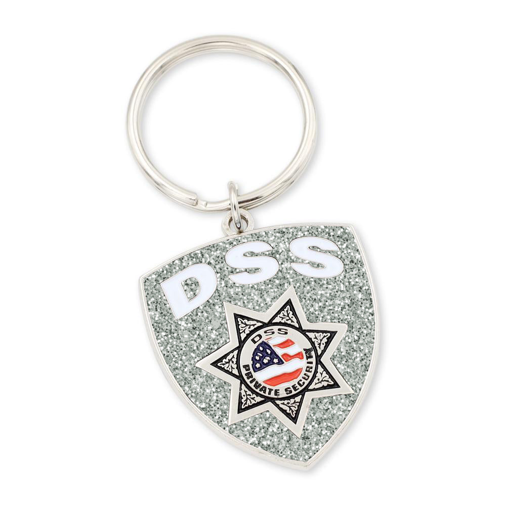 Police badge shield custom keychain with department badge and bold enamel coloring red white and blue flag