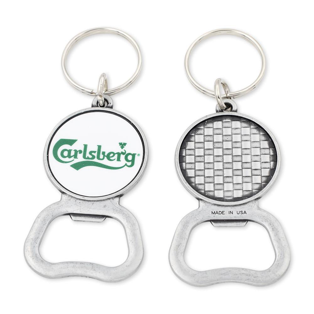 custom carlsberg beer bottle opener with silver metal and keychain attachment