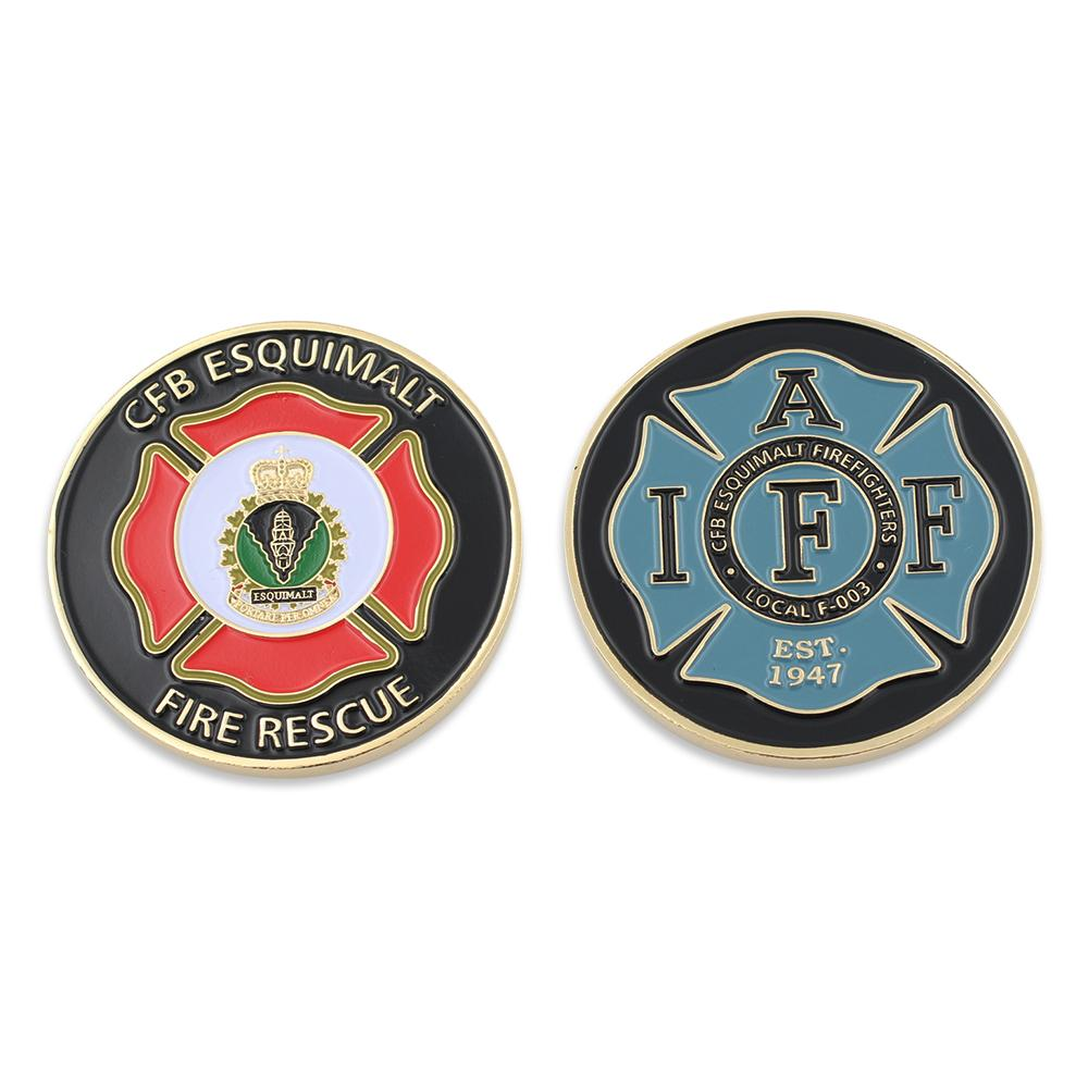 fire department custom challenge coin with custom design